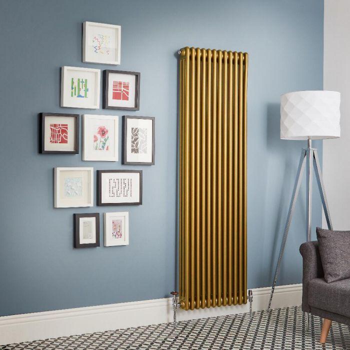 Designheizkörper Vertikal Metallisches Gold Traditionell 3 Säulen Regent - Größe wählbar