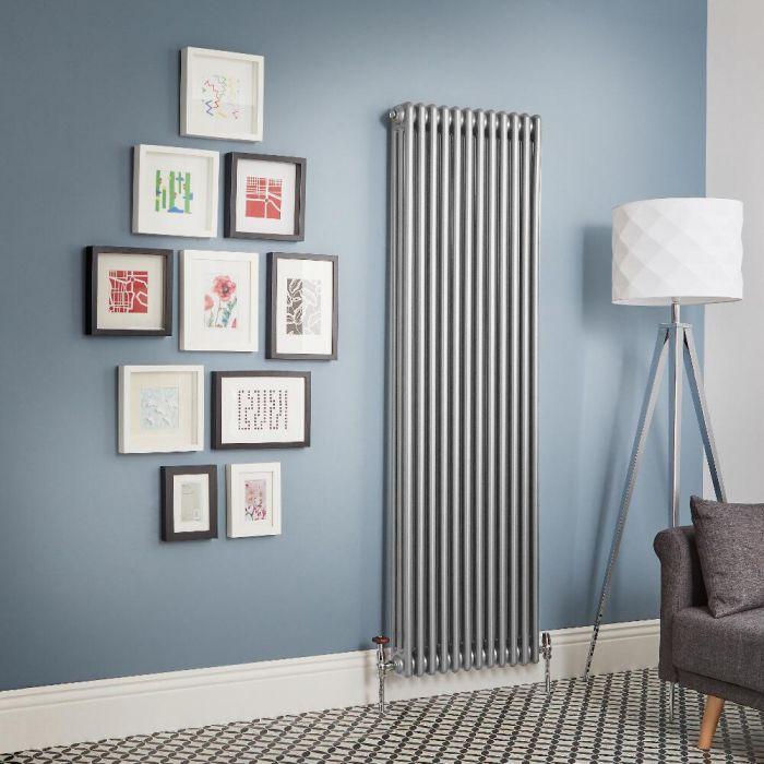Design Gliederheizkörper Vertikal - Metallisches Silber traditionell 3 Säulen - 1800mm, Breite wählbar - Regent