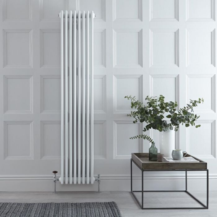 Gliederheizkörper Vertikal 4 Säulen Nostalgie Weiß 1800mm x 380mm 2153W - Regent