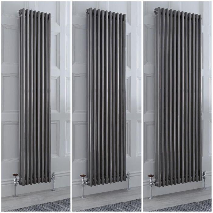 Traditioneller Gliederheizkörper Vertikal 3-lagig Rohmetall, Größe und Füße Wählbar - Regent