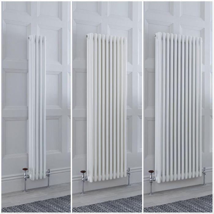 Traditioneller Gliederheizkörper Vertikal 3-lagig Weiß, Größe und Füße Wählbar - Regent