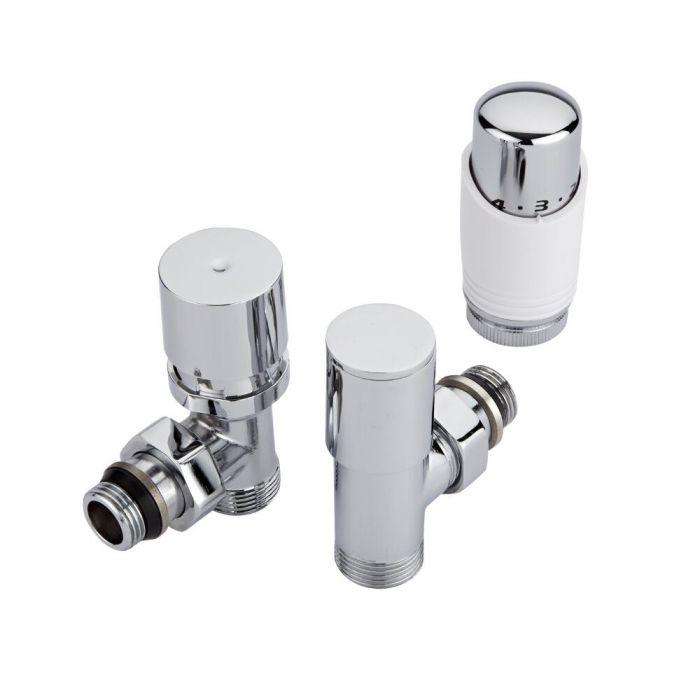 Hudson Reed thermostatisches Chrom-Heizkörperventil mit weißem Griff und wählbaren Adaptern