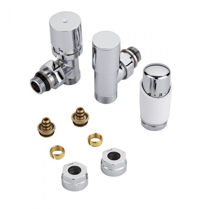 Heizkörperwinkelventil Thermostatisch Weiß inkl. Multiadapter für 14mm Mehrschichtverbundrohre im Set
