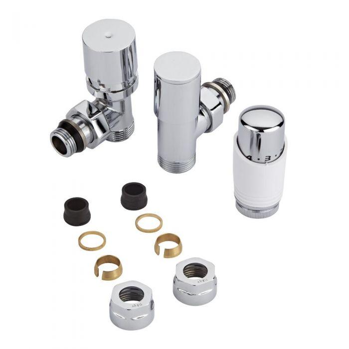 Heizkörperwinkelventil-Set Thermostatisch Weiß inkl. Multiadapter für 16mm Kupferrohre im Set
