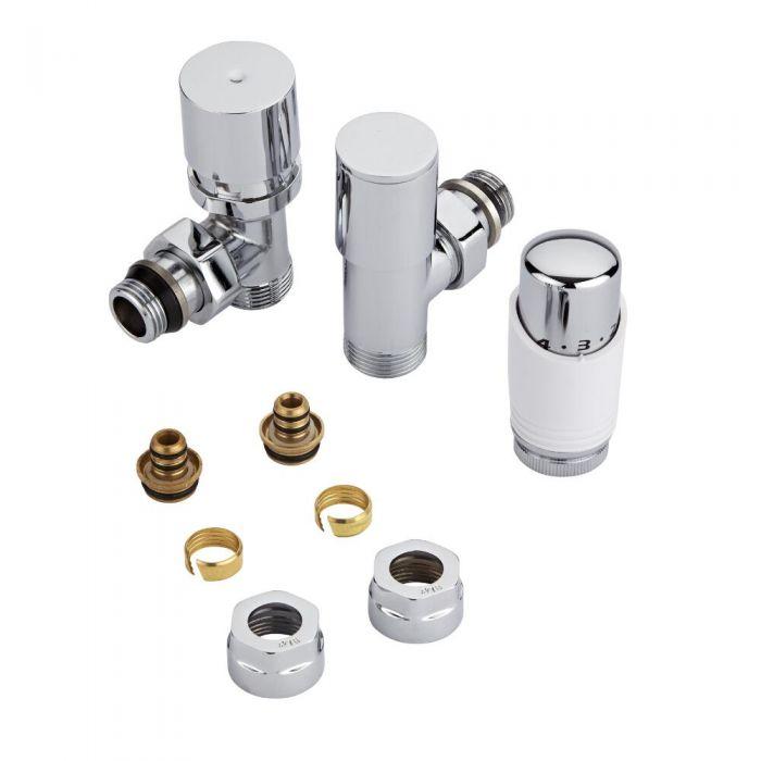 Heizkörperwinkelventil Thermostatisch Weiß inkl. Multiadapter für 16mm Mehrschichtverbundrohre im Set