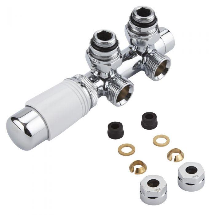 Mittelanschlussgarnitur Eck-Ausführung Thermostatisch Weiß inkl. Multiadapter für 12mm Kupferrohre im Set