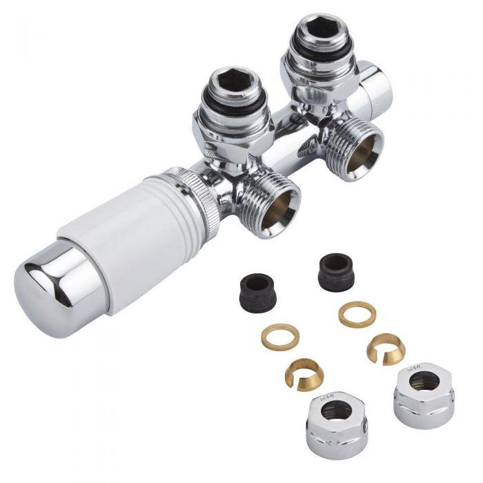 Mittelanschlussgarnitur Eck-Ausführung Manuell & thermostatisch Weiß inkl. Multiadapter für 14mm Kupferrohre im Set