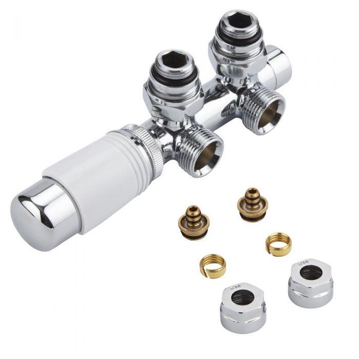 Mittelanschlussgarnitur Eck-Ausführung Thermostatisch Weiß inkl. Multiadapter für 14mm Multiverbundrohre im Set