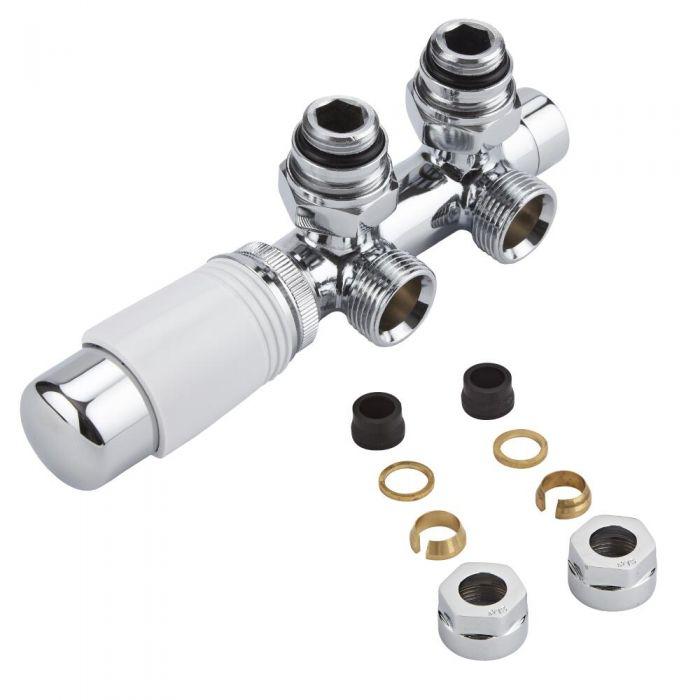 Mittelanschlussgarnitur Eck-Ausführung Manuell & thermostatisch Weiß inkl. Multiadapter für 15mm Kupferrohre im Set