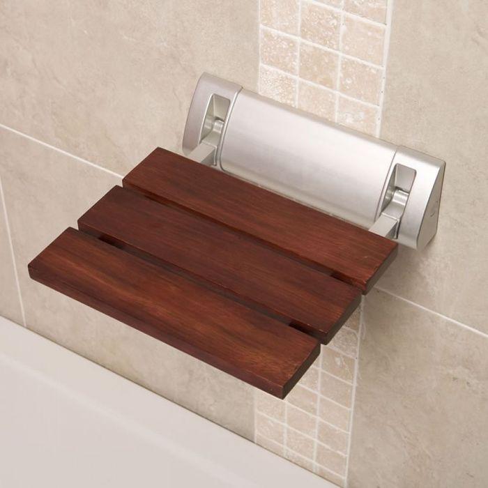 Ausklappbarer Duschsitz zur Wandmontage Sapelli-Holz mit breiter Wandhalterung - Select