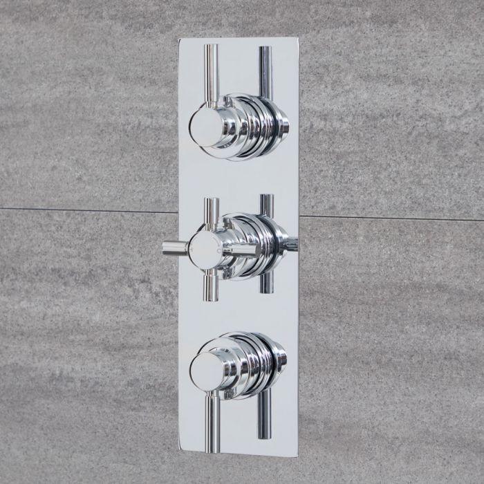 3-Wege Runde Thermostat-Duscharmatur mit Umsteller Chrom - Tec