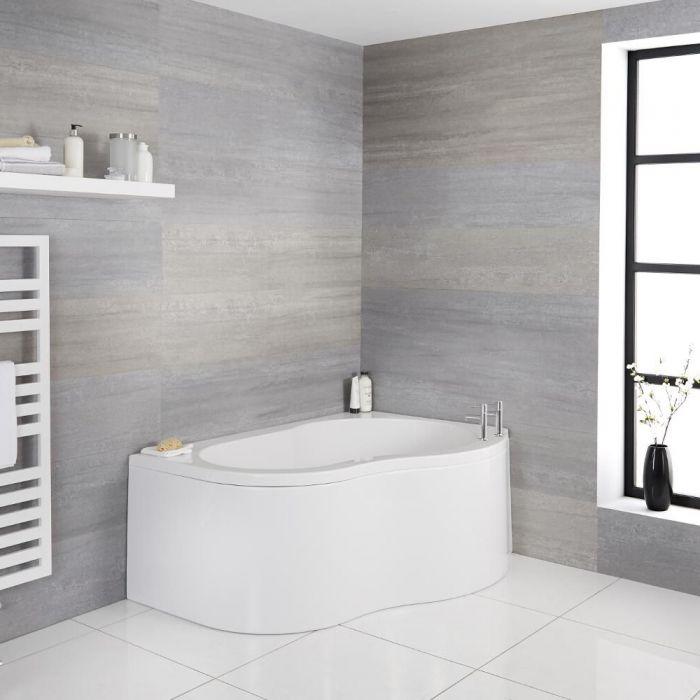 Eckbadewanne mit Schürze, rechtsbündig, 1500mm x 1000mm - Weiß – Ashbury