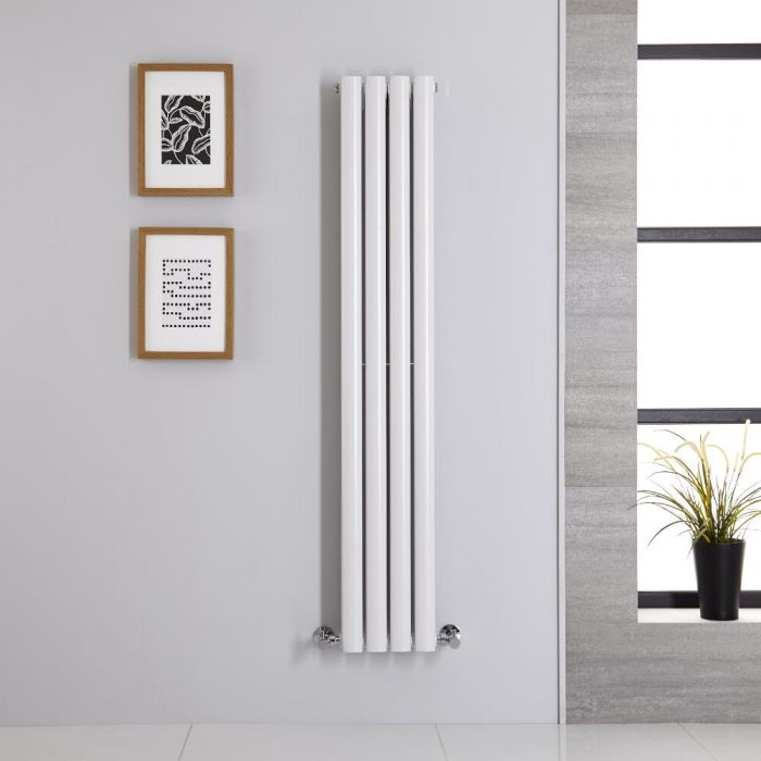 Design Heizkörper Vertikal Weiß 1400mm x 236mm 696W (doppellagig) - Revive
