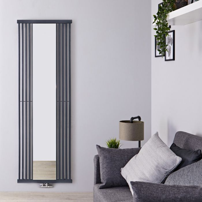 Design Heizkörper mit Spiegel (einlagig), vertikal -  1700mm x 640mm, 1172W - Steingrau - Lublin
