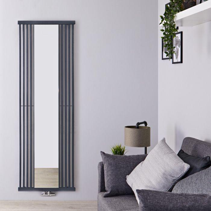 Design Heizkörper mit Spiegel (einlagig), vertikal - 1900mm x 640mm, 1261W - Steingrau - Lublin