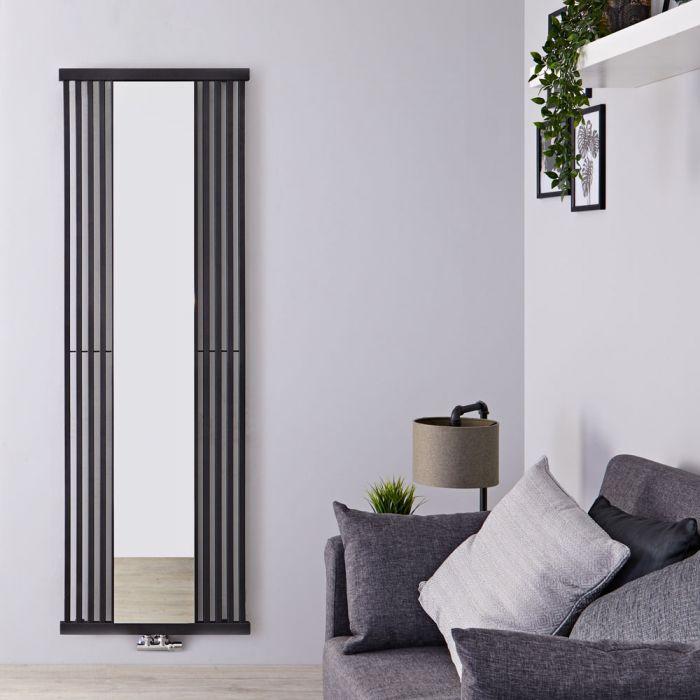 Design Heizkörper mit Spiegel (einlagig), vertikal - 1900mm x 640mm, 1261W - Schwarz - Lublin