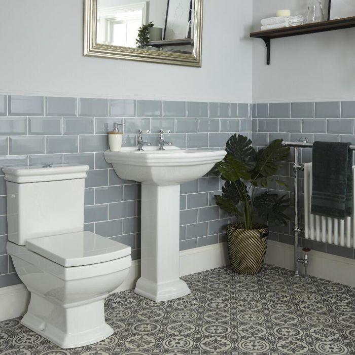 Nostalgie Stand WC mit aufgesetztem Spülkasten und Säulenwaschbecken Set - Chester