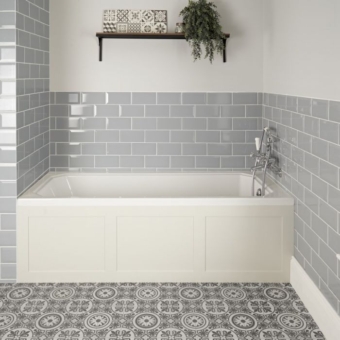 Einbau-Badewanne Weiß mit Verkleidung in Antikweiß 1700mm x 750mm - Richmond