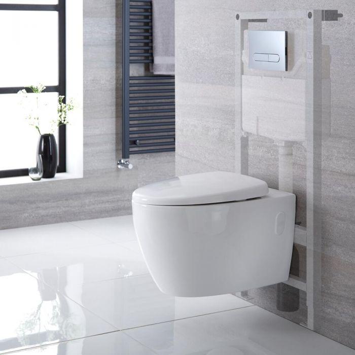 Hänge WC Spülrandlos Oval inkl. Unterputzspülkasten 1150mm x 500mm und wählbarer Betätigungsplatte - Kenton