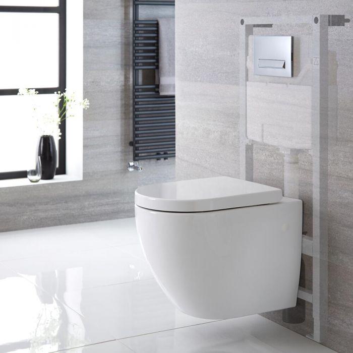 Hänge-WC Weiß ohne Spülrand inkl. hohem Wandrahmen, Wählbare Betätigungsplatte - Ashbury