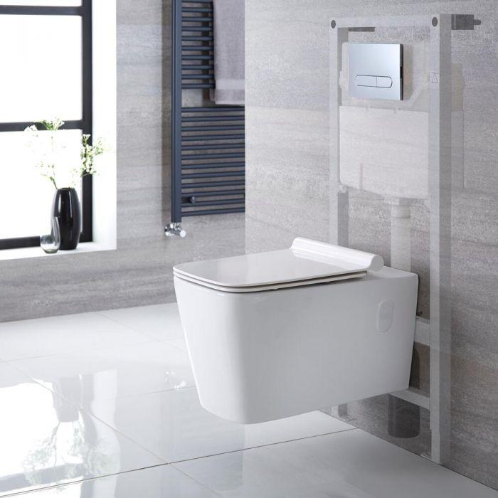 Hänge-WC Weiß inkl. hohem Wandrahmen, Wählbare Betätigungsplatte - Sandford