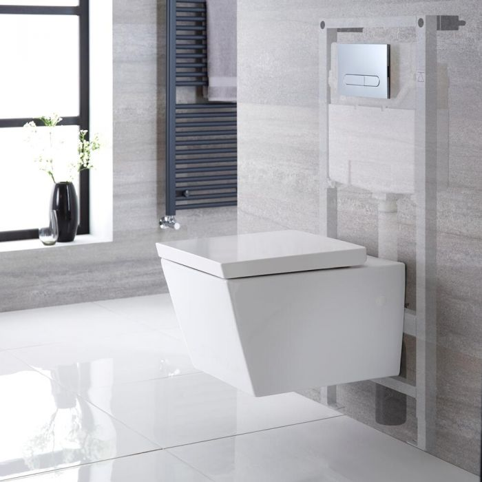 Hänge-WC Weiß inkl. hohem Wandrahmen, Wählbare Betätigungsplatte - Halwell