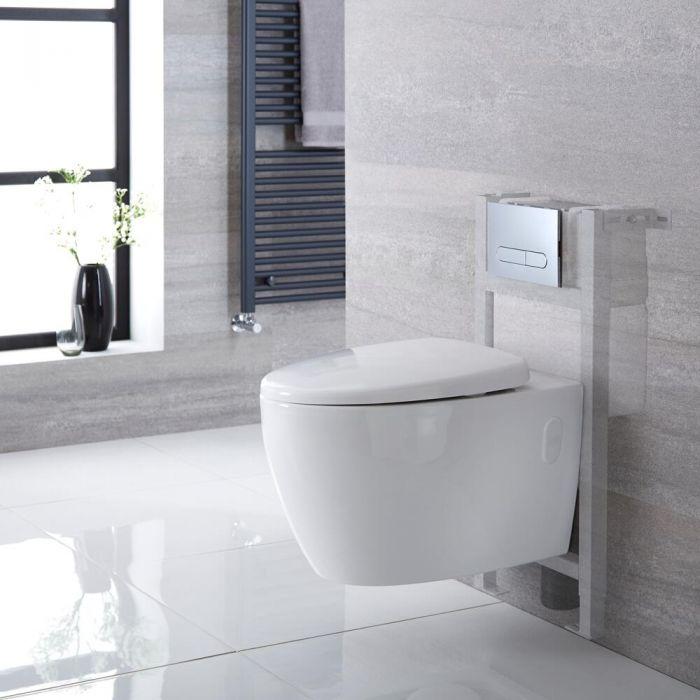 Hänge-WC Weiß ohne Spülrand inkl. kurzem Wandrahmen, Wählbare Betätigungsplatte - Kenton