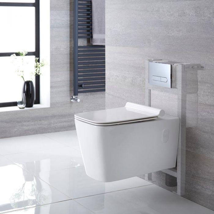 Hänge-WC Weiß inkl. kurzem Wandrahmen, Wählbare Betätigungsplatte - Sandford