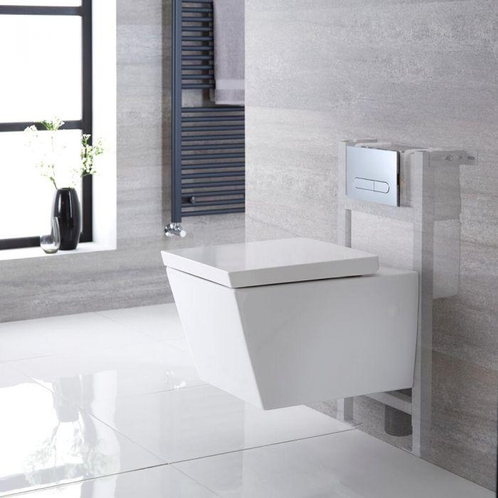 Hänge-WC Weiß inkl. kurzem Wandrahmen, Wählbare Betätigungsplatte - Halwell