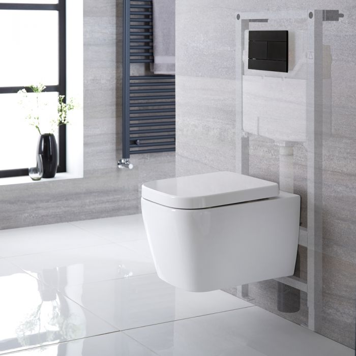Hänge-WC Weiß inkl. hohem Wandrahmen, Wählbare Betätigungsplatte - Milton