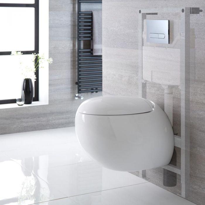 Hänge-WC Weiß inkl. hohem Wandrahmen, Wählbare Betätigungsplatte - Langtree