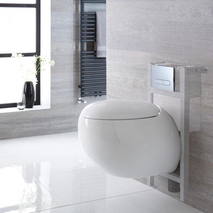 Hänge-WC Weiß inkl. kurzem Wandrahmen, Wählbare Betätigungsplatte - Langtree