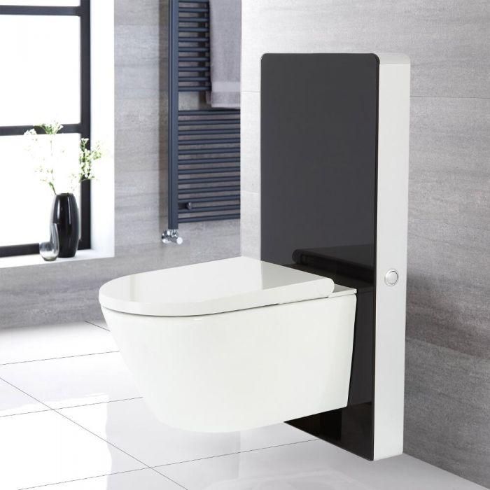 Hirayu Japanisches Wand-Dusch-WC inkl. Saru Sanitärmodul H 1000mm Schwarz mit Sensor-Spülung