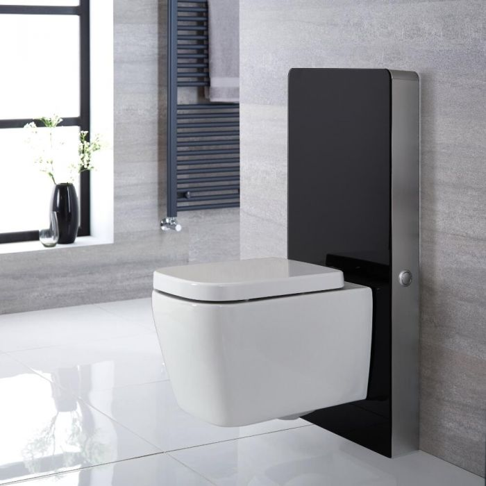Saru Sanitärmodul H 1000mm Schwarz mit Sensor-Spülung für Wand-WC