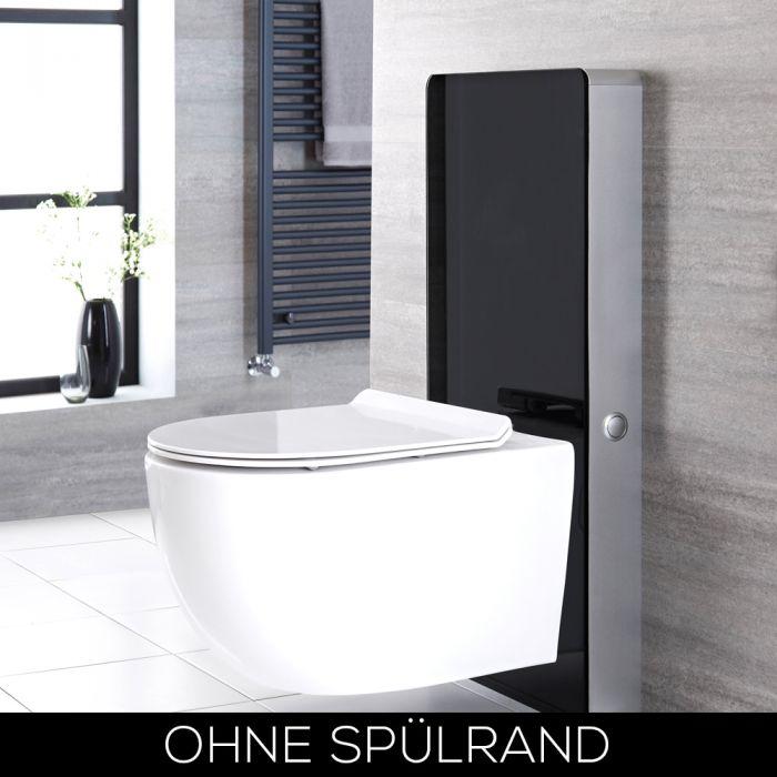 Otterton Hänge-WC Randlos mit Saru Sanitärmodul Schwarz, inkl. Spülkasten