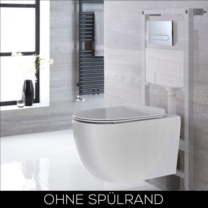 Hänge-WC Oval Randlos Weiß inkl. Wandrahmen, Betätigungsplatte wählbar - Otterton