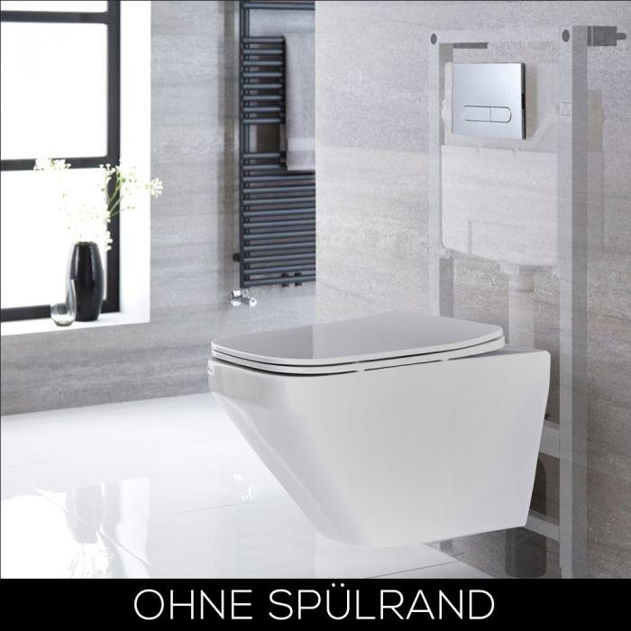 Hänge-WC Randlos Weiß, inkl. 1150mm Wandrahmen, Betätigungsplatte wählbar - Exton
