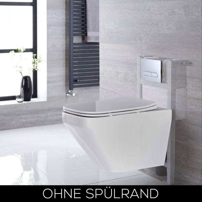 Hänge-WC Randlos Weiß inkl. 820mm Wandrahmen, Betätigungsplatte wählbar - Exton