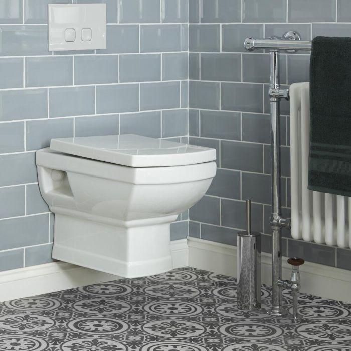 Traditionelle Wand-Toilette mit Rahmen und Spülkasten, Betätigungsplatte wählbar - Chester