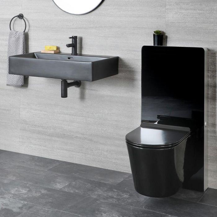 WC Set - Hängewaschbecken & Wand WC mit Saru Sanitärmodul, inkl. Spülsensor - Nox