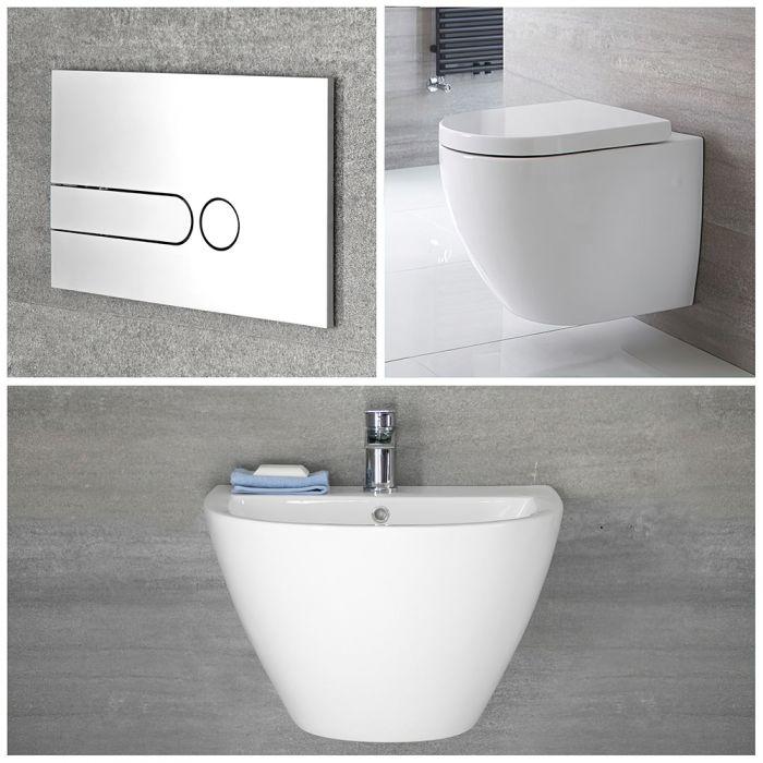 Wandwaschbecken und Wand WC Randlos Set inkl. Unterputz-Spülkasten - Ashbury