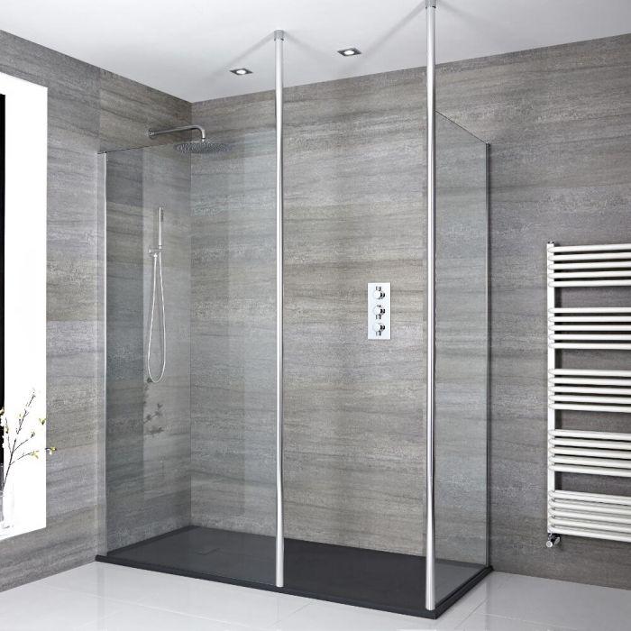 Walk-In Dusche, Chrom, für Eckeinbau - inkl. Duschwanne mit Schiefer-Effekt (Finish wählbar) – wählbare Größe - Sera