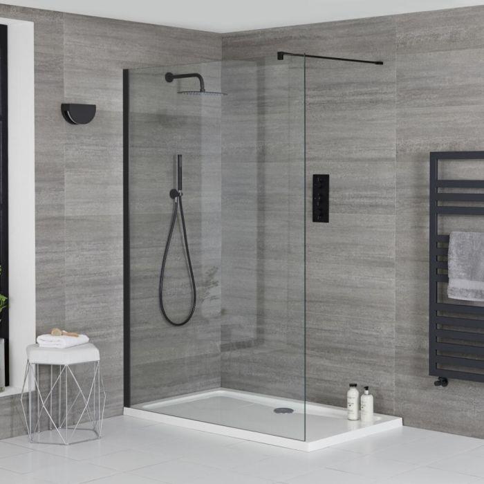 Walk-In Duschwand, Schwarz - inkl. weißer Duschwanne mit niedrigem Profil – wählbare Größe – Nox