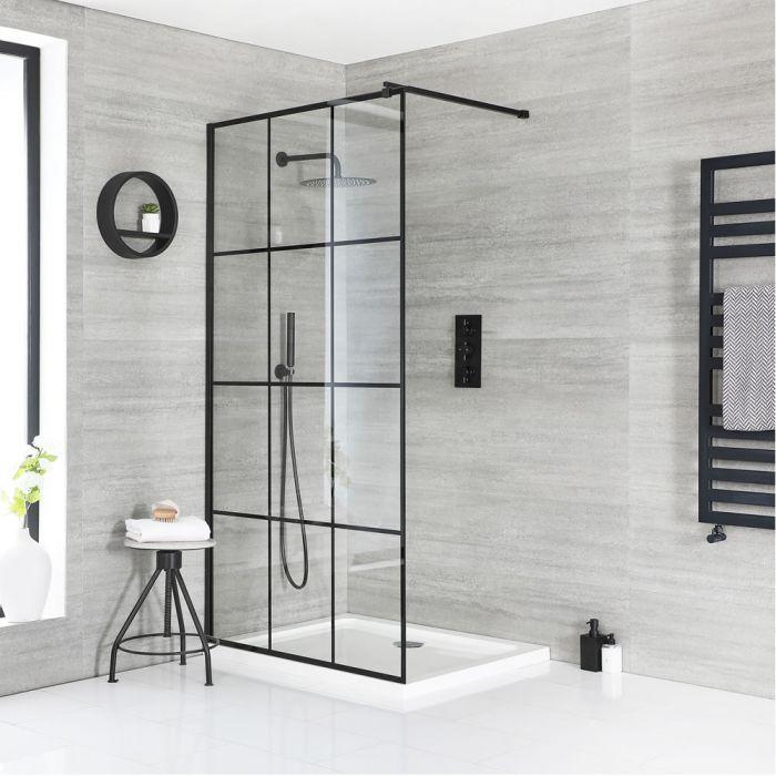 Walk-In Duschwand mit Gittermuster – inkl. weißer Duschwanne mit niedrigem Profil – wählbare Größe – Barq
