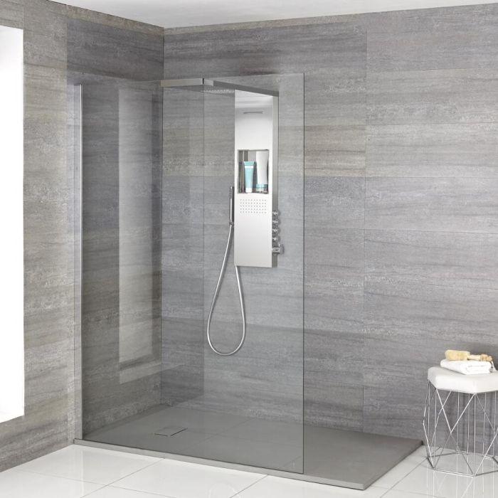 Iko Walk-In Dusche mit Duschwanne in grauer Steinoptik & glashaltendem Duschpaneel - Wählbare Größe