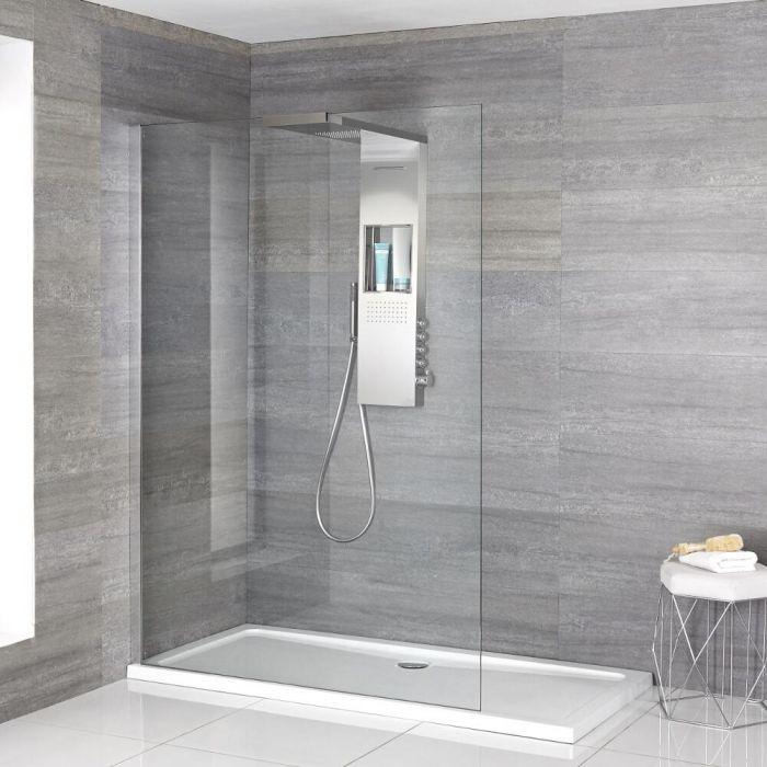 Iko Walk-In Dusche mit Slim Line Duschwanne & glashaltendem Duschpaneel - Wählbare Größe