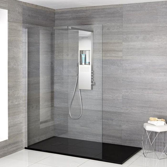 Iko Walk-In Dusche mit Duschwanne in Steinoptik & glashaltendem Duschpaneel - Wählbare Größe