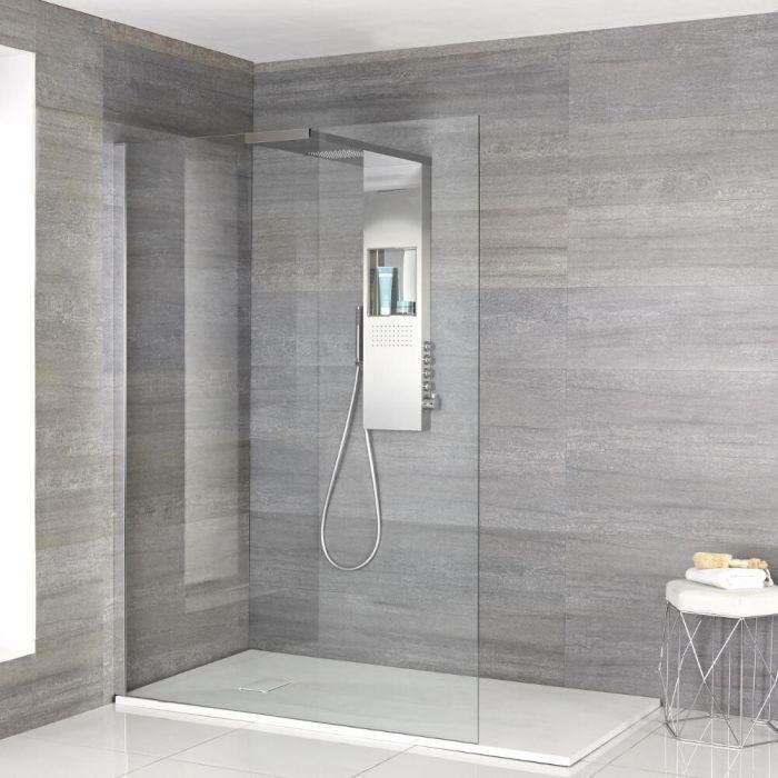 Iko Walk-In Dusche mit Duschwanne in weißer Steinoptik & glashaltendem Duschpaneel - Wählbare Größe