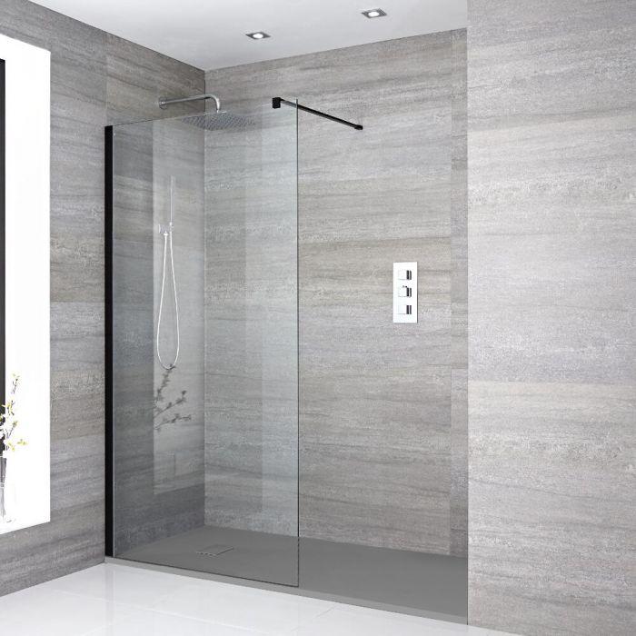 Walk-In Dusche, Schwarz, für Nische – inkl. Duschwanne mit Schiefer-Effekt (Finish wählbar) – Größe wählbar – Nox