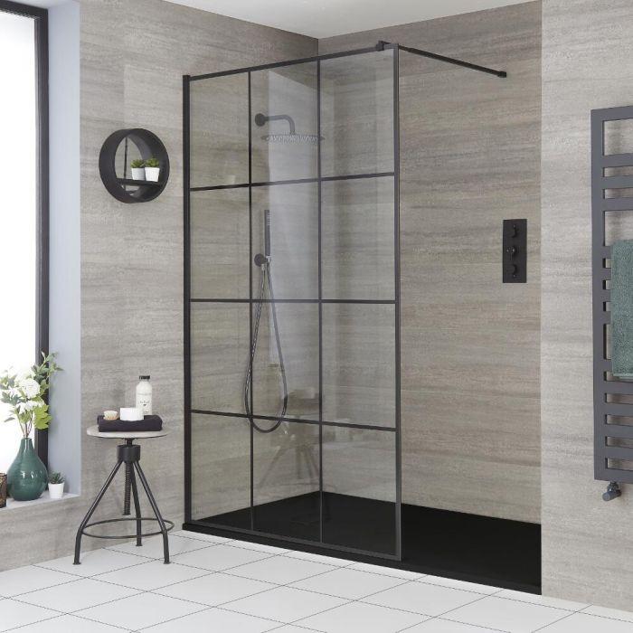 Walk-In Duschwand mit Gittermuster, für Nische - inkl. Duschwanne mit Schiefer-Effekt (Finish wählbar) – wählbare Größen – Barq